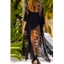 Beach Girls Coat See-through Lace Floral Embroidery Batwing Sleeve Longline Relaxed Fit Coat