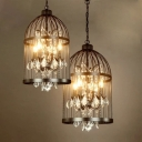 Metal Birdcage Pendant Chandelier Rustic Restaurant Hanging Ceiling Light with Crystal Accent