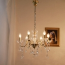 Clear Crystal Candle Style Chandelier Retro Dining Table Ceiling Hang Light in Gold