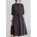 Trendy Women's Shirt Dress Plain Button Design Drawstring Waist Point Collar Long Sleeves Side Pocket Long Shirt Dress