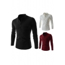 Basic Men's Tee Top Solid Color Button Design Mock Neck Long Sleeves Chest Pocket Slim Fitted Bottoming T-Shirt