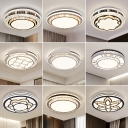 Opulent Inlaid Crystal Drum Ceiling Light Modern Stainless Steel LED Flush Mount Fixture