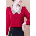 Classic Womens Shirt Long Sleeve Lace Point Collar Button Detail Relaxed Fit Shirt