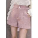 Womens Pretty Shorts Wool High Rise Solid Color Pleated Relaxed Shorts