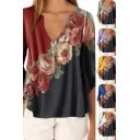 Fancy Women's Shirt Blouse Contrast Panel Floral Print V Neck Long Sleeves Regular Fitted Pullover Shirt Blouse