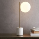 Globe Glass Table Light Simplicity 1 Head Night Stand Lamp with Cylinder Marble Pedestal
