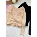 Trendy Women's Tee Top Patchwork Lace Scalloped Hem Broderie Detail Long Sleeves Slim Fitted T-Shirt