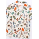 Stylish Women's Shirt Blouse Graphic Pattern Spread Collar Chest Pocket Short Sleeve Relaxed Fit Shirt Blouse