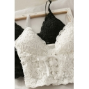 Fancy Women's Tank Top Broderie Detail Lace up Front Lace Trim Spaghetti Strap Sleeveless Slim Fitted Cami Top