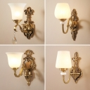 Opal Frosted Glass Wall Lamp Antique Brass Shaded Corridor Wall Sconce Light Fixture