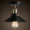 1 Head Semi Flush Industrial Umbrella Metallic Flush Ceiling Light Fixture in Black