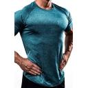 Leisure Guys Tee Top Short Sleeve Crew Neck Curved Hem Slim Fit Solid T Shirt