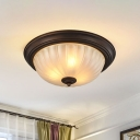 Traditional Bowl Flush Mount Etched Ribbed Glass Flushmount Ceiling Light for Living Room