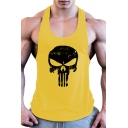 Fashion Mens Tank Skull Printed Scoop Neck Regular Fit Tank Top