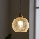 1-Bulb Globe Down Lighting Pendant Industrial Clear Textured Glass Pendulum Light