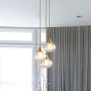 Industrial Geometric Shaped Drop Pendant Single Clear Glass Hanging Light in Gold
