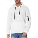 Stylish Men's Hoodie Solid Color Quilted Zip Detail Banded Cuffs Long Sleeves Drawstring Hooded Sweatshirt