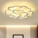 Clover Corridor LED Ceiling Flush Mount Light Acrylic Modernist Semi Mount Lighting in White