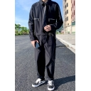 New Popular Solid Color Long Sleeve Lapel Collar Tied Waist Black Casual Jumpsuits Coveralls for Men