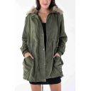 Winter's Warm Fur Hooded Long Sleeve Drawstring Waist Zip Up Longline Cotton-Padded Coat
