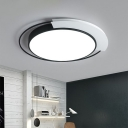 Round Metallic LED Flush Lamp Nordic Black and White Flush Mount Ceiling Light for Bedroom