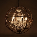 4-Bulb Interlocking Rings Drop Pendant Industrial Wrought Iron Chandelier with Crystal Drapes