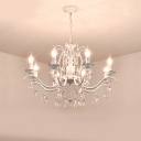 Crystal Strand Chandelier Lighting Antiqued Candelabrum Dining Room Hanging Light Fixture