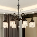 Curved Arm Metal Chandelier Countryside Living Room LED Hanging Lamp with Crystal Drape