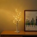 Bare Birch Tree Night Table Light Art Deco Plastic Bedroom USB LED Nightstand Lamp in White
