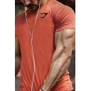 Basic Mens Tee Top Logo Print Short Sleeve Crew Neck Fitted Tee Top