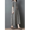 Vintage Women's Swing Dress Contrast Panel Plaid Pattern Round Neck Short Sleeves Long Swing Dress