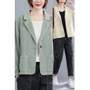 Leisure Women's Suit Jacket Solid Color Corduroy Front Pocket Button Fly Notched Lapel Collar Long Sleeves Regular Fitted Suit Jacket