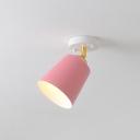 Pink Tapered Semi Flush Light Macaron Single Metal Rotating Ceiling Lamp for Corridor