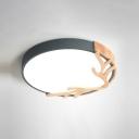 Round Flush Mount Lighting Fixture Macaron Metal Bedroom LED Ceiling Light with Wood Antler Deco