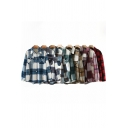 All-Match Shirt Blouse Plaid Tartan Pattern Button Closure Flap Chest Pocket Spread Collar Long Sleeves Relaxed Fit Shirt