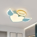 Acrylic Winged Heart Ceiling Fixture Cartoon LED Flush Mounted Light for Child Room