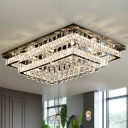 Luxurious Modern Tiered Ceiling Lighting Clear Crystal Living Room LED Flushmount in Stainless Steel