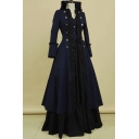 Middle Age Style Solid Ruffle Hem Double Breasted Stand Collar Long Sleeves Maxi A-Line Flowy Dress