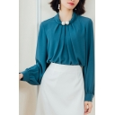 Work Ladies Solid Shirt Long Sleevev Crew Neck Pearl Decoration Riched Loose Fit Chiffon Shirt in Peacock