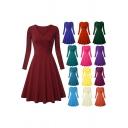 Pretty Ladies Dress Plain Long Sleeve Surplice Neck Midi Pleated A-line Dress