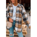 Vintage Women's Shirt Blouse Plaid Pattern Button Fly Spread Collar Long Sleeves Regular Fitted Shirt