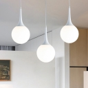 Modern Globe Pendant Light Fixture White Glass 1 Light Living Room Hanging Ceiling Light, 12