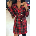 Red Check Pattern Lapel Collar Printed Double Breasted Longline Blazer Coat