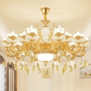 Traditional Candle Style Lighting Faux Jade Light Fitting with Crystal Drop in Gold