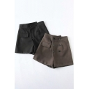 Leisure Women's Shorts Solid Color Button Detailed Flap Pocket High Waist Straight Shorts
