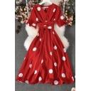 Unique Women's A-Line Dress Polka Dot Print Wrap Detail Short Flare Cuff Sleeve Waist Banded Long A-Line Dress