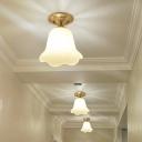 Traditional Flower Shade Flush Mount Light 1-Light Opal Glass Semi Flush Ceiling Light in Gold