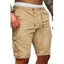 All-Match Men's Shorts Solid Color Flap Pocket Drawstring Elastic Waist Knee Length Shorts