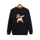 Fashion Mens Sweatshirt Cartoon Dog Print Long Sleeve Crew Neck Loose Sweatshirt