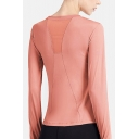Leisure Womens T Shirt Long Sleeve Crew Neck Slim Fit Solid Color Tee Top